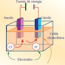 cuba electrolítica ánodo y cátodo