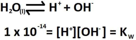equilibrio de disociación del agua
