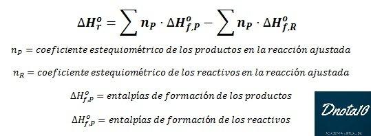 Diferencias entre la entalpia de reacción y formación