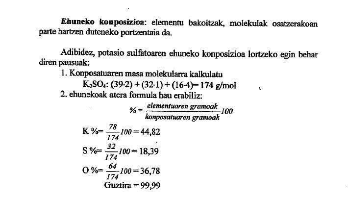 ehuneko komposizioa kalkulatu kimika