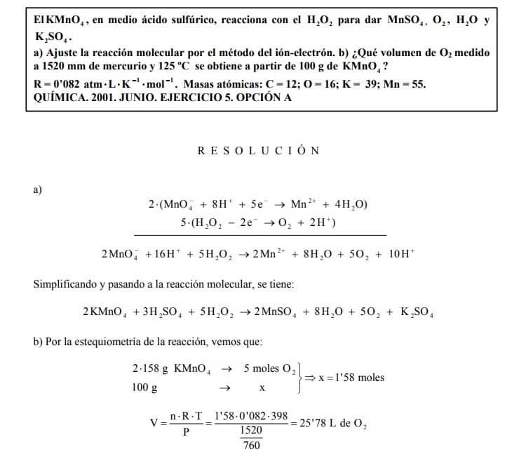 ejemplo de ejercicio redox resuelto con solucion