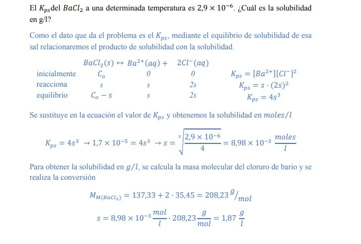 ejercicio resuelto calculo de solubilidad con el producto kps