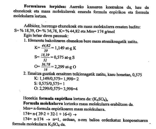 formula empirika eta molekularra kalkulatu