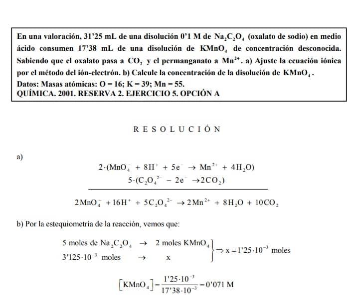 valoracion reducion oxidacion ejercicio resuelto