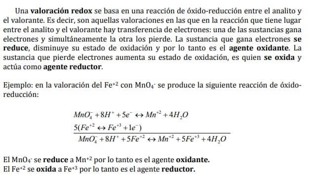 volumentria reduccion oxidacion permanganimetria